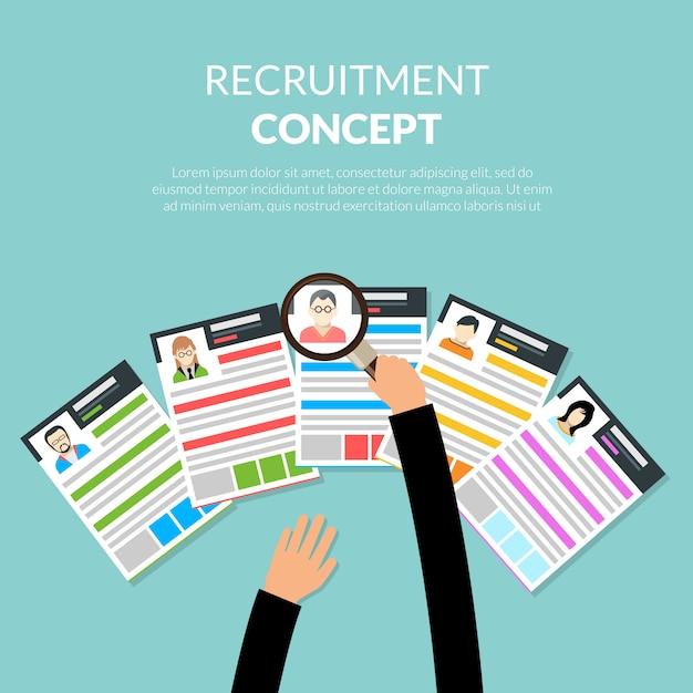 Concepto plano de reclutamiento vector gratuito