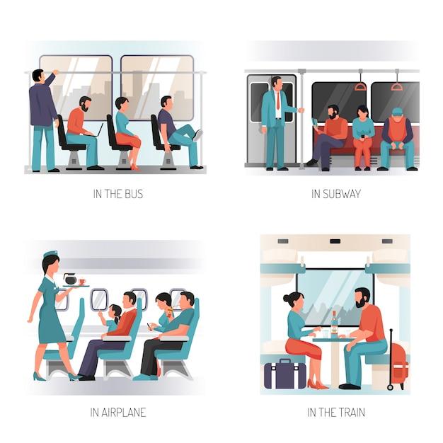 Concepto plano de transporte de personas vector gratuito