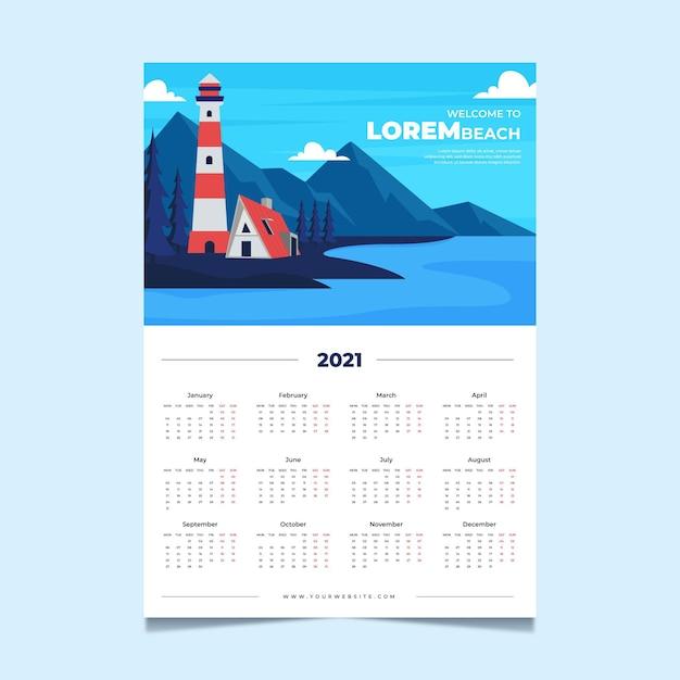 Concepto de plantilla de calendario 2021 Vector Premium