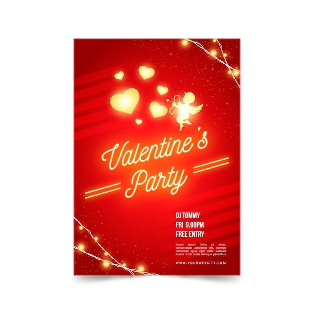 Concepto de plantilla de cartel de fiesta de día de san valentín vector gratuito