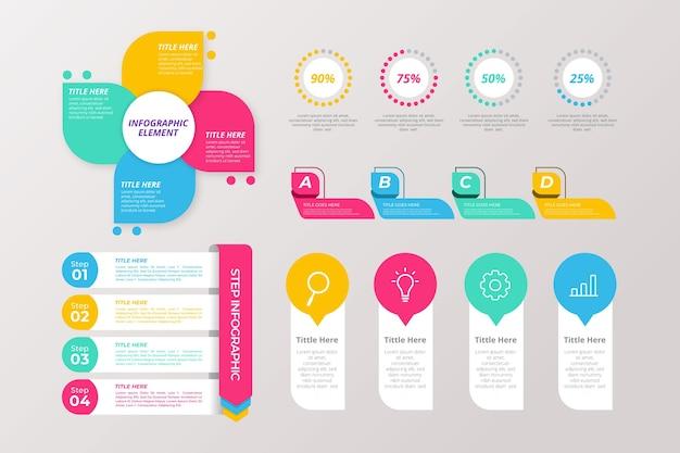 Concepto de plantilla de colección de elementos infográficos vector gratuito