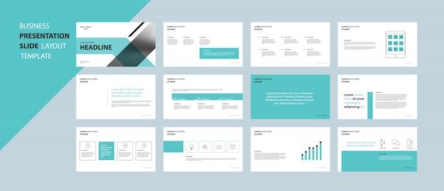 Concepto de plantilla de diseño de presentación de negocios con elementos infográficos Vector Premium