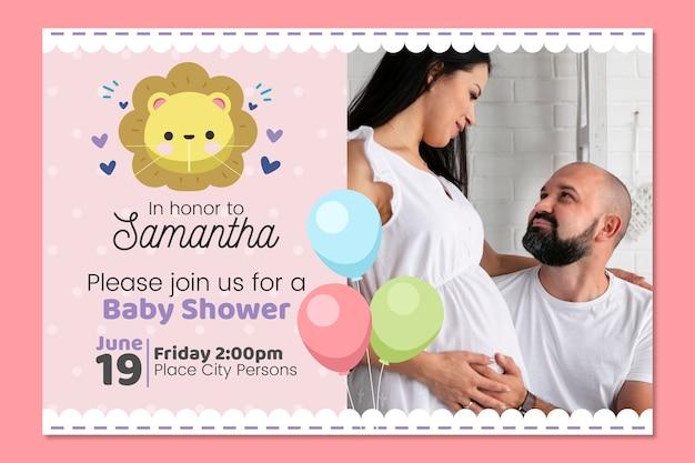 Concepto de plantilla de invitación de ducha de bebé niña vector gratuito