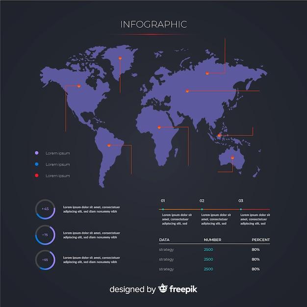 Concepto de plantilla de mapa mundial infografía vector gratuito