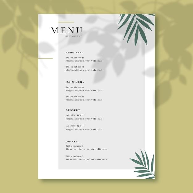 Concepto de plantilla de menú de restaurante vector gratuito