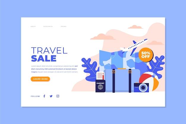 Concepto de plantilla web de página de destino de venta de viajes vector gratuito
