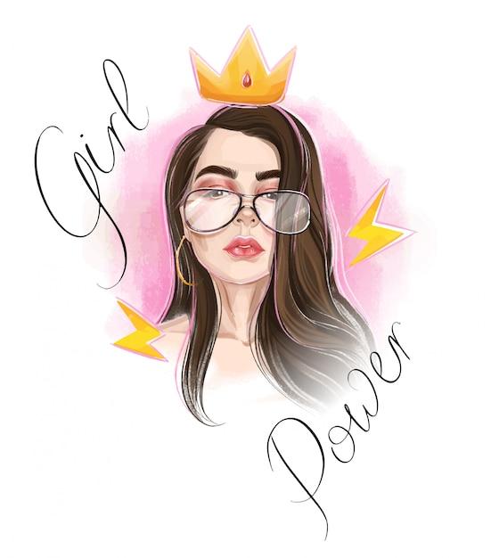 Concepto de poder hermosa chica. corona dorada. signo real. Vector Premium
