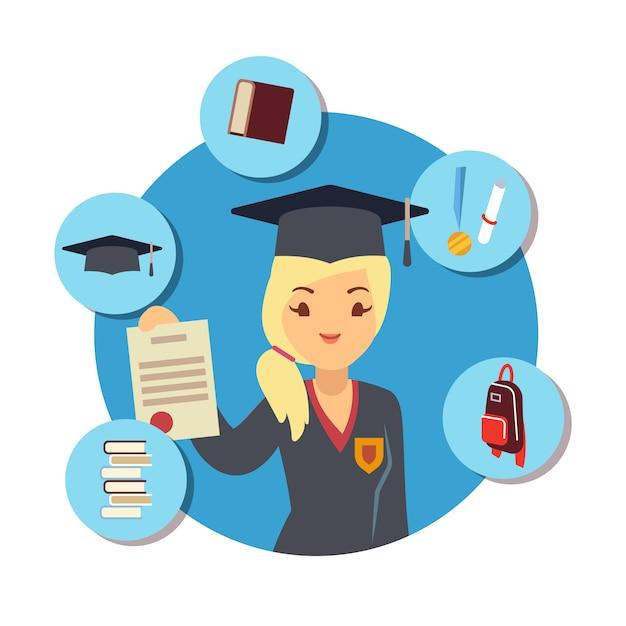 Concepto de posgrado con niña estudiante y escuela accesorios elemens Vector Premium