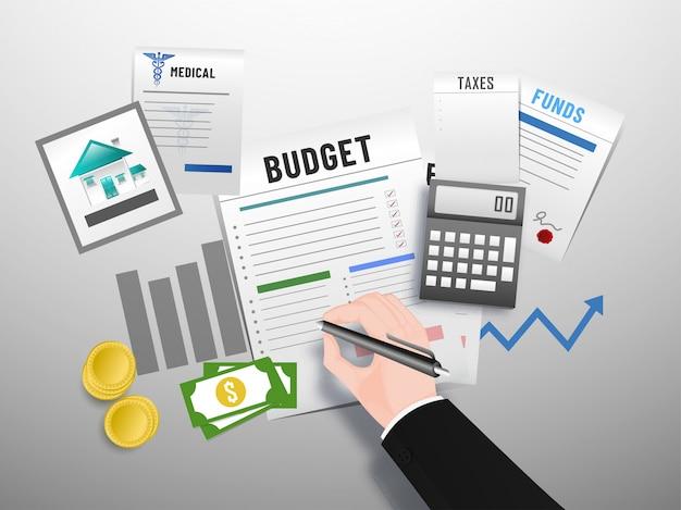 Concepto de presupuesto. Vector Premium