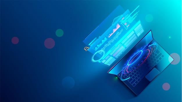 Concepto de proceso de codificación de desarrollo de software. programación, prueba de código multiplataforma Vector Premium