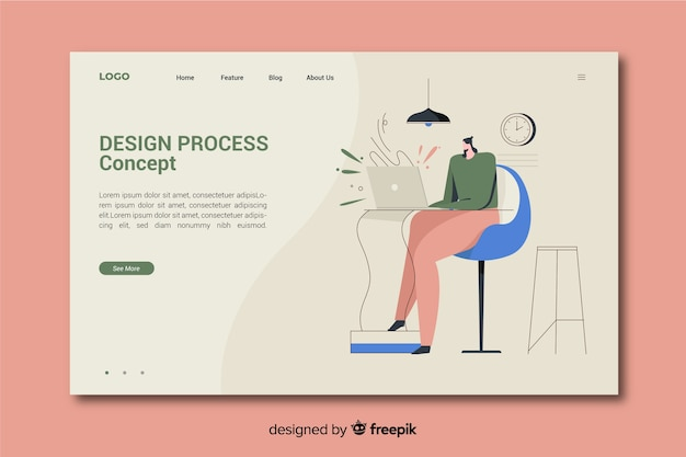 Concepto de proceso de diseño para página de inicio vector gratuito