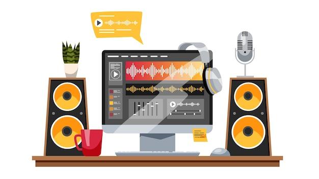 Concepto de producción de sonido. industria musical, grabación de sonido Vector Premium