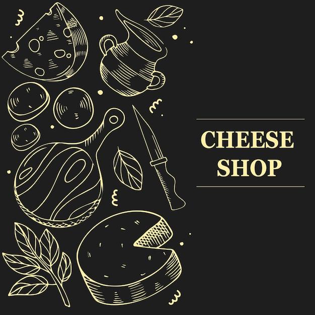 Concepto de productos de queso. plantilla para menú, folleto, banner sobre fondo negro. Vector Premium