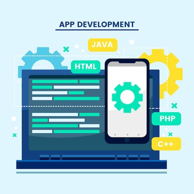 Concepto de programación y desarrollo de aplicaciones vector gratuito