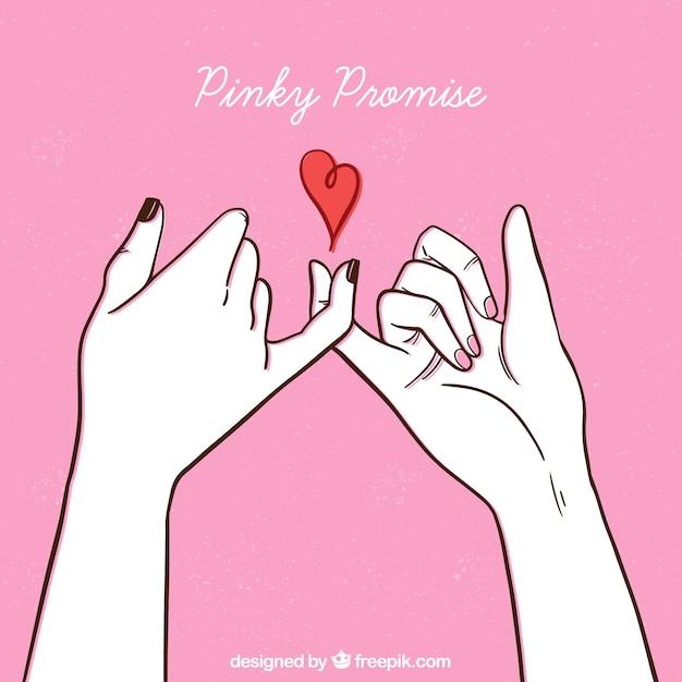 Concepto de promesa de meñique dibujado a mano Vector Premium