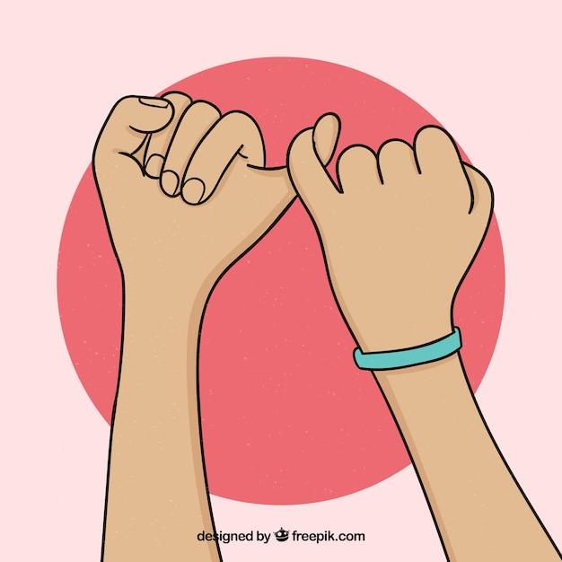 Concepto de promesa de meñique dibujado a mano vector gratuito