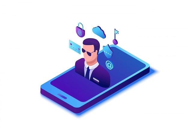 Concepto de protección de datos, ilustración vectorial isométrica 3d de seguridad cibernética, ataque de firewall, estafa de suplantación de identidad Vector Premium