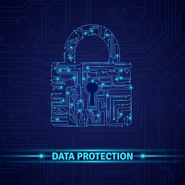 Concepto de protección de datos vector gratuito