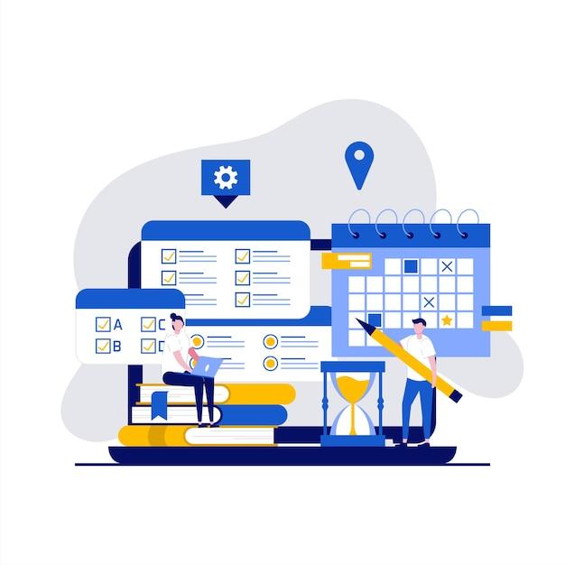 Concepto de prueba de examen en línea con carácter. las personas que usan la aplicación de computadora para realizar pruebas en línea forman una encuesta o una lista de verificación. Vector Premium