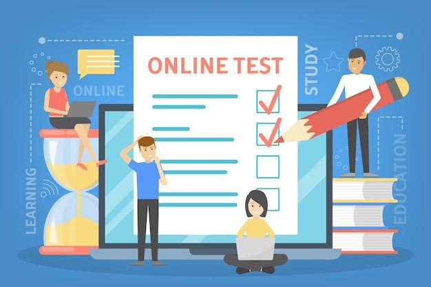 Concepto de prueba en línea. prueba en la computadora Vector Premium