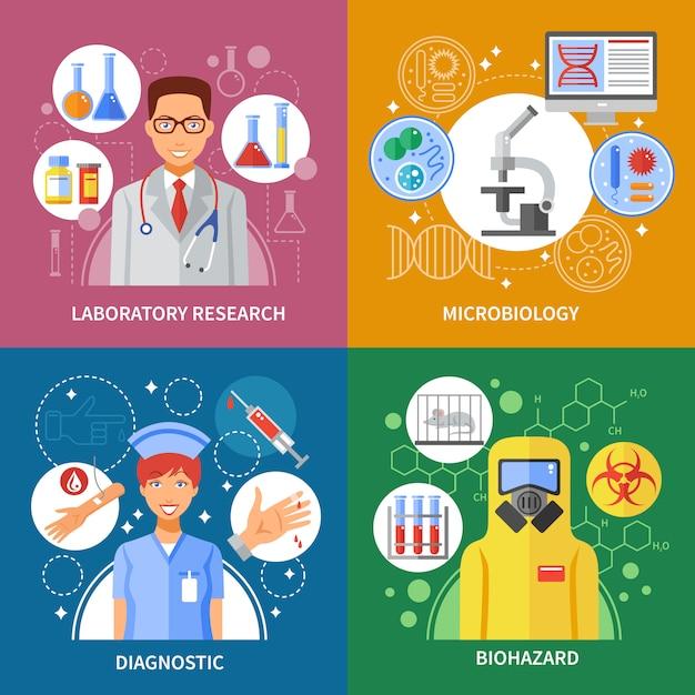 Concepto de prueba de microbiología vector gratuito