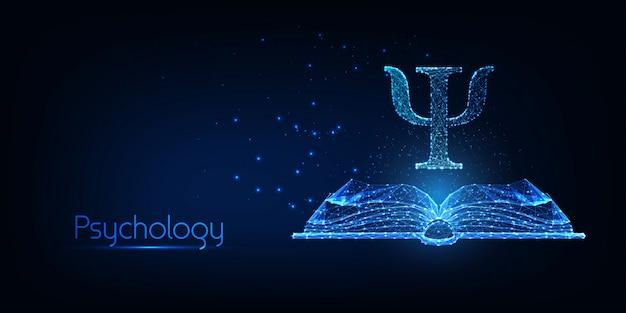 Concepto de psicología futurista con libro abierto poligonal bajo brillante y letra griega psi Vector Premium