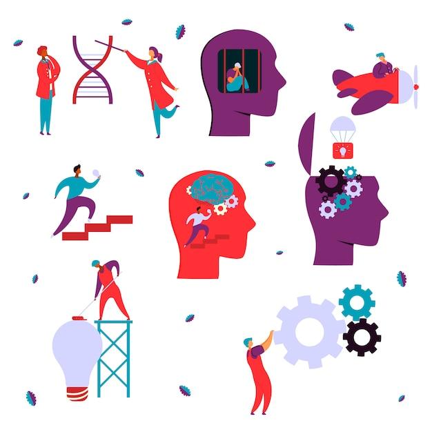 Concepto de psicología neurología cerebral Vector Premium