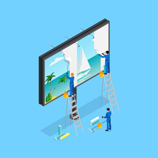 Concepto de publicidad isométrica vector gratuito