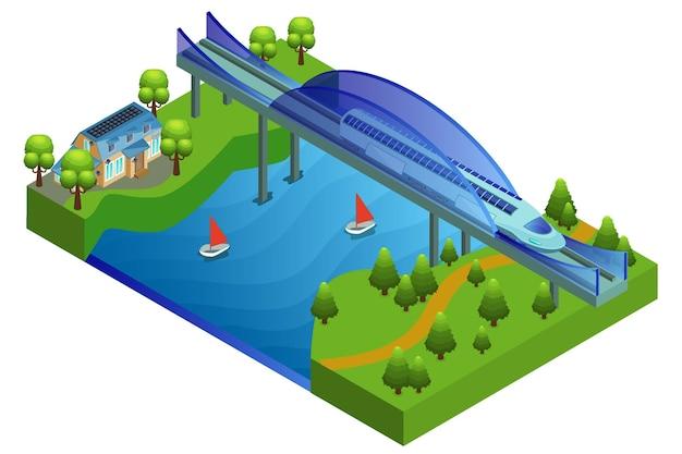 Concepto de puente ferroviario isométrico vector gratuito
