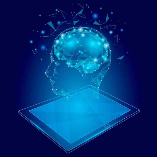 Concepto de realidad virtual de baja poli abstracto cerebro tablet pc, poligonal geométrico Vector Premium