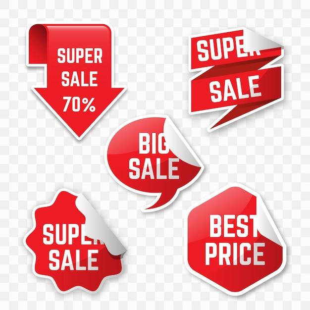 Concepto realista de colección de etiquetas de ventas colgantes vector gratuito