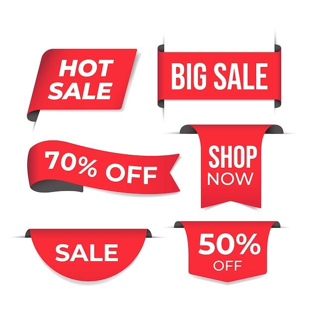 Concepto realista de colección de etiquetas de ventas Vector Premium