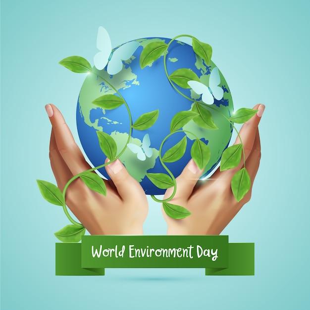 Concepto realista del día mundial del medio ambiente vector gratuito
