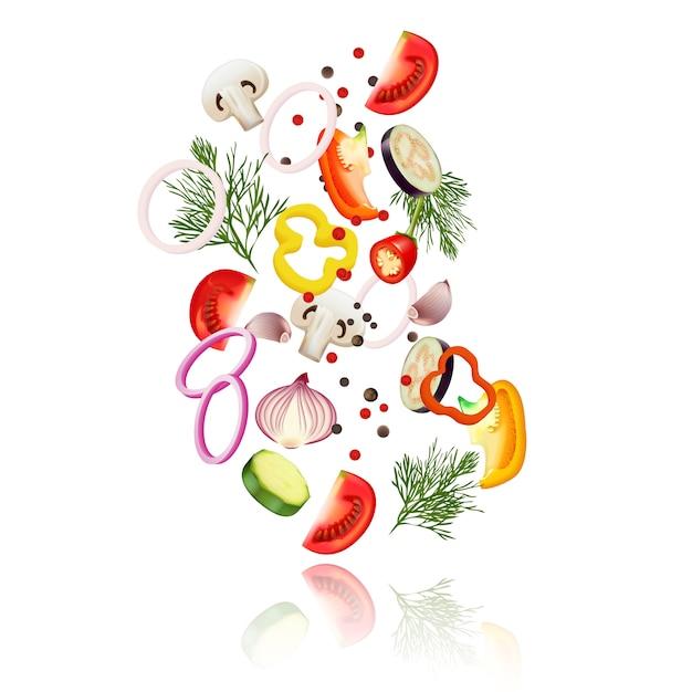 Concepto realista de verduras en rodajas con tomate pimiento y cebolla ilustración vectorial vector gratuito