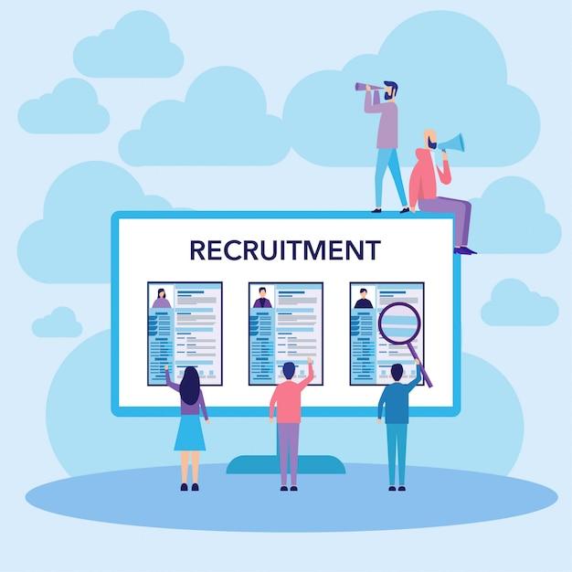 Concepto de reclutamiento de trabajo Vector Premium