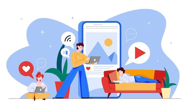 Concepto de redes sociales. comunicación global, compartir contenido y recibir comentarios. utilización de redes para la promoción empresarial. estrategia de mercadeo. ilustración en estilo de dibujos animados Vector Premium