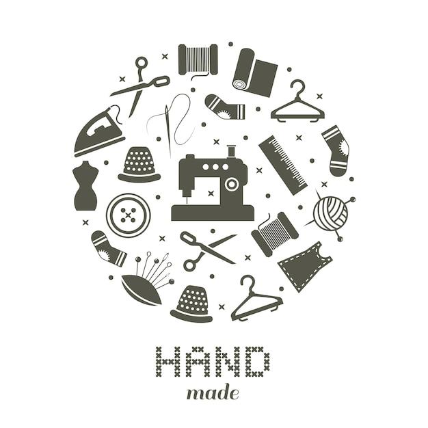 Concepto redondo hecho a mano con coser y tejer iconos. Vector Premium