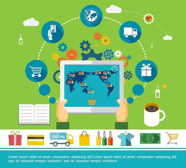 Concepto redondo plano de compras en línea vector gratuito