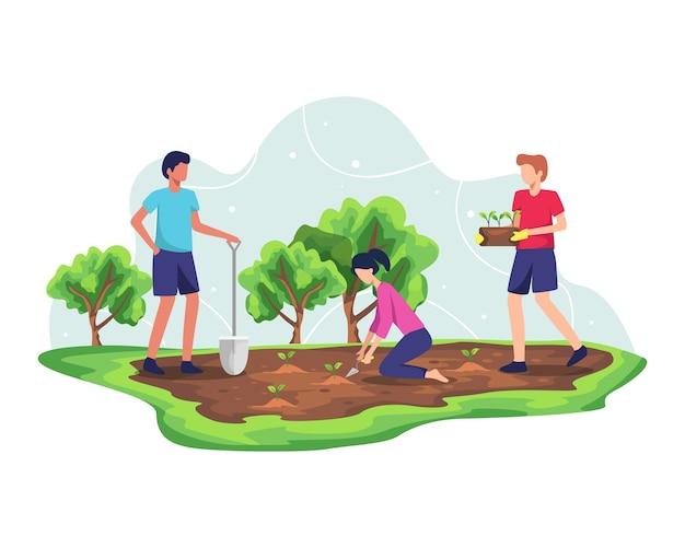 Concepto de reforestación forestal. plantación de árboles y ecosistemas sostenibles, agricultura ambiental para salvar la ecología de la tierra. desarrollo del cuidado de la naturaleza para un aire fresco y limpio. en estilo plano Vector Premium