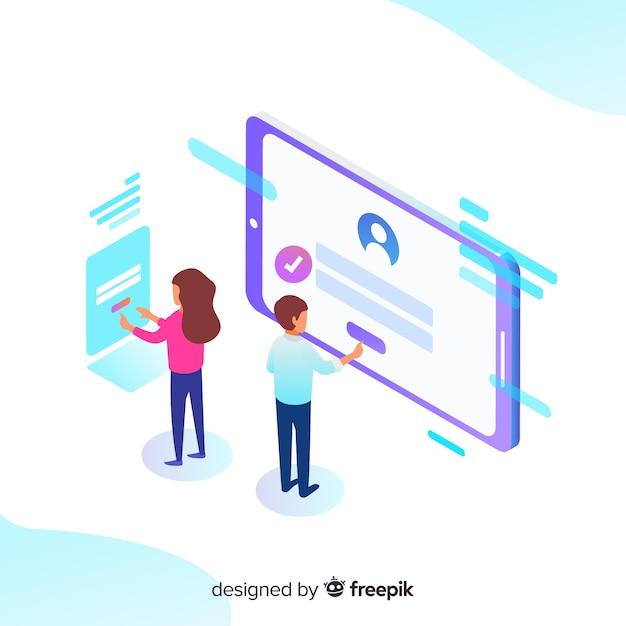 Concepto de registro online con vista isométrica vector gratuito