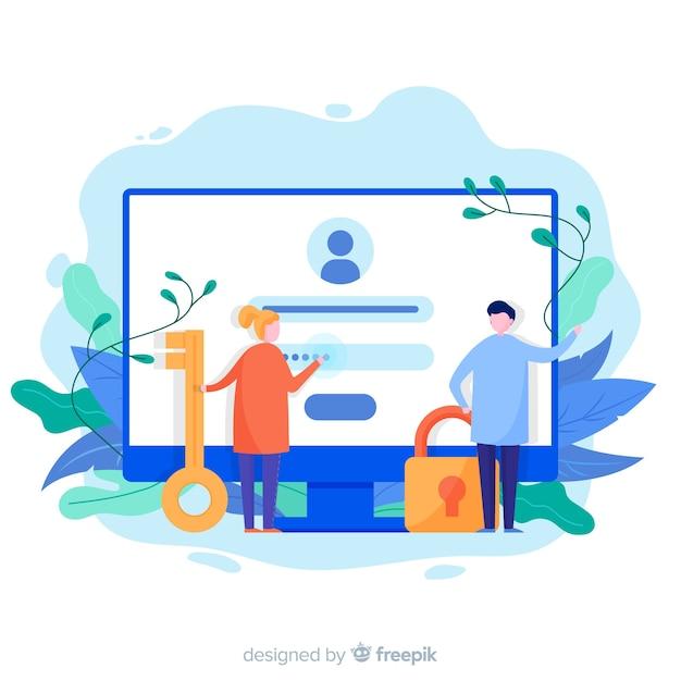 Concepto de registro online Vector Premium
