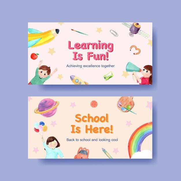 Concepto de regreso a la escuela y educación con plantilla de twitter para publicidad en línea y marketing digital de acuarela vector gratuito