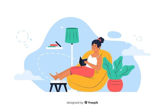 Concepto de relajación en casa para la página de inicio vector gratuito