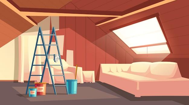 Concepto de reparación del ático. renovación de sala de madera bajo techo. vector gratuito