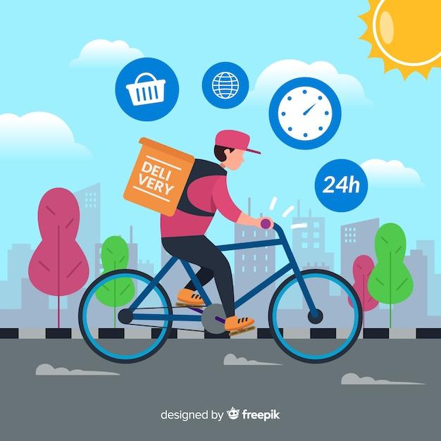 Concepto de reparte en bici en estilo flat vector gratuito