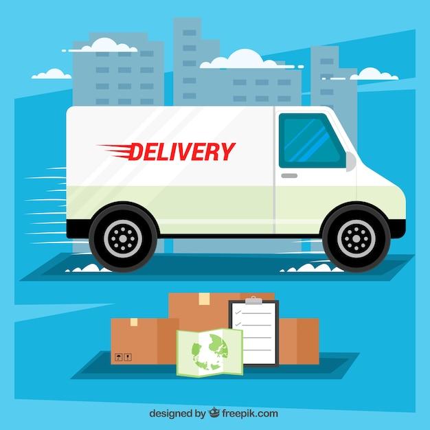 Concepto de reparto con camión, cajas y mapa vector gratuito