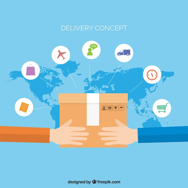 Concepto de reparto internacional con diseño plano Vector Premium