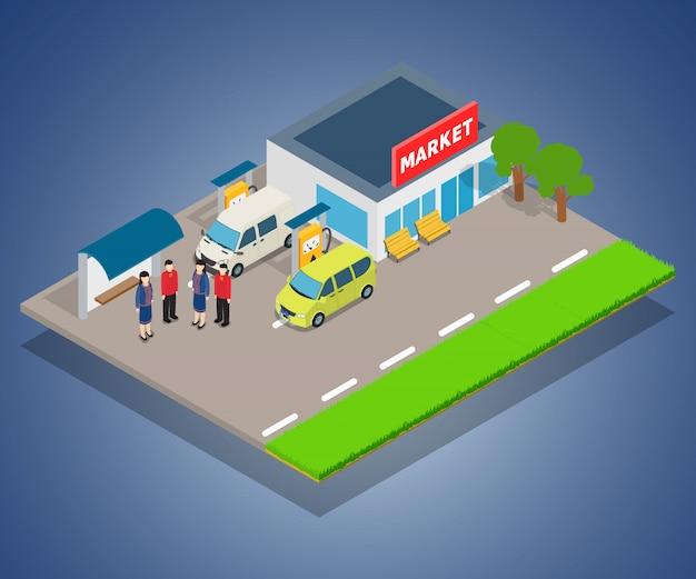 Concepto de repostaje en tienda. Vector Premium