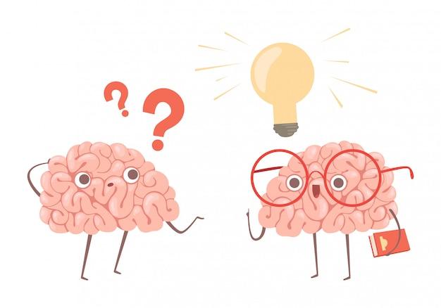 Concepto de resolución de problemas. cerebros de dibujos animados pensando en el problema y encuentra una nueva idea de ilustración Vector Premium