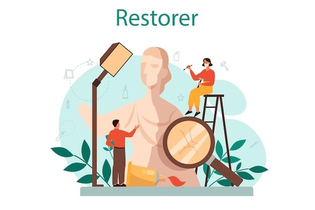 Concepto de restaurador. artista restaura una estatua antigua, pintura y muebles antiguos. persona repara cuidadosamente el objeto de arte antiguo. ilustración vectorial en estilo de dibujos animados Vector Premium